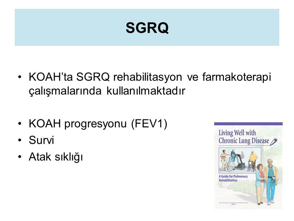 SGRQ KOAH'ta SGRQ rehabilitasyon ve farmakoterapi çalışmalarında kullanılmaktadır KOAH progresyonu (FEV1) Survi Atak sıklığı