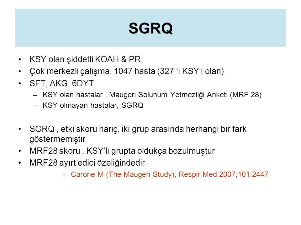 SGRQ KSY olan şiddetli KOAH & PR Çok merkezli çalışma, 1047 hasta (327 'i KSY'i olan) SFT, AKG, 6DYT –KSY olan hastalar, Maugeri Solunum Yetmezliği Anketi (MRF 28) –KSY olmayan hastalar, SGRQ SGRQ, etki skoru hariç, iki grup arasında herhangi bir fark göstermemiştir MRF28 skoru, KSY'li grupta oldukça bozulmuştur MRF28 ayırt edici özeliğindedir –Carone M (The Maugeri Study), Respir Med 2007;101:2447