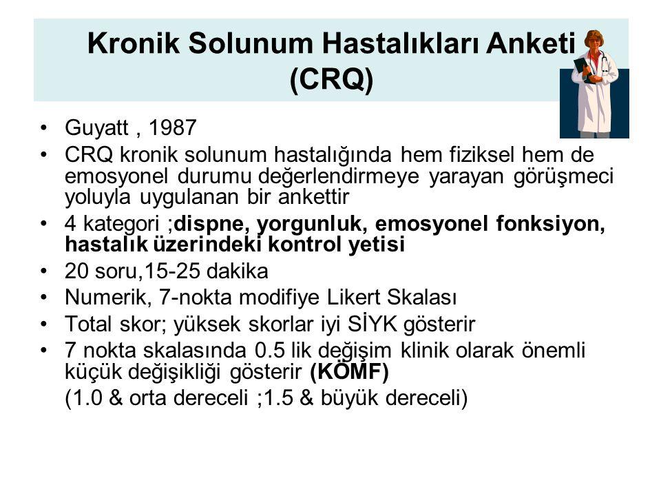 Kronik Solunum Hastalıkları Anketi (CRQ) Guyatt, 1987 CRQ kronik solunum hastalığında hem fiziksel hem de emosyonel durumu değerlendirmeye yarayan görüşmeci yoluyla uygulanan bir ankettir 4 kategori ;dispne, yorgunluk, emosyonel fonksiyon, hastalık üzerindeki kontrol yetisi 20 soru,15-25 dakika Numerik, 7-nokta modifiye Likert Skalası Total skor; yüksek skorlar iyi SİYK gösterir 7 nokta skalasında 0.5 lik değişim klinik olarak önemli küçük değişikliği gösterir (KÖMF) (1.0 & orta dereceli ;1.5 & büyük dereceli)
