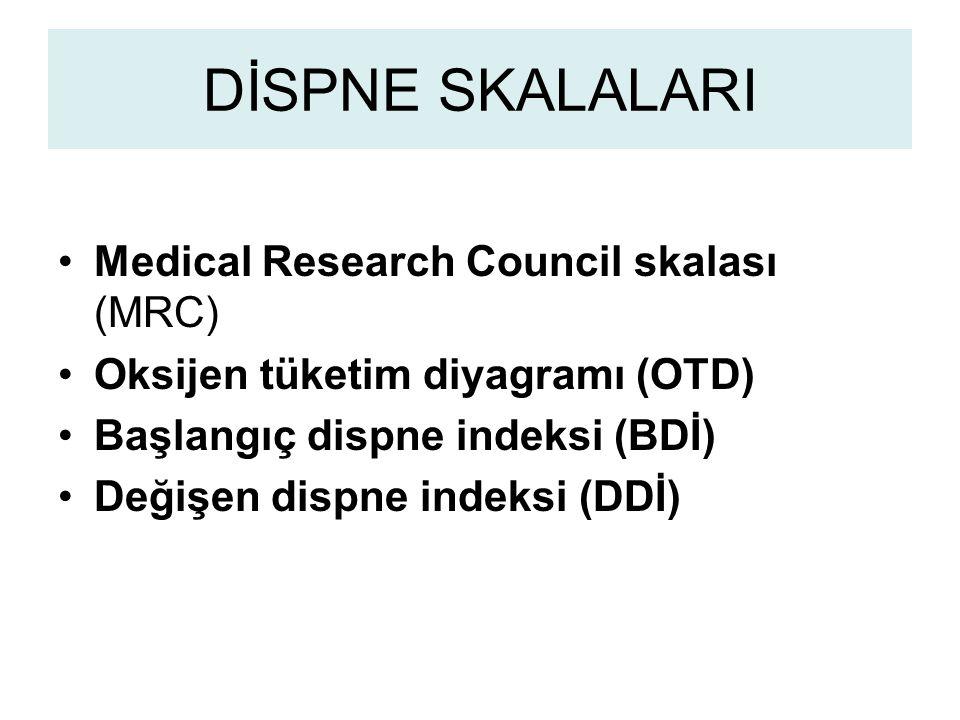 DİSPNE SKALALARI Medical Research Council skalası (MRC) Oksijen tüketim diyagramı (OTD) Başlangıç dispne indeksi (BDİ) Değişen dispne indeksi (DDİ)