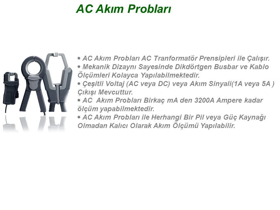 AC Akım Probları  AC Akım Probları AC Tranformatör Prensipleri ile Çalışır.  Mekanik Dizaynı Sayesinde Dikdörtgen Busbar ve Kablo Ölçümleri Kolayc