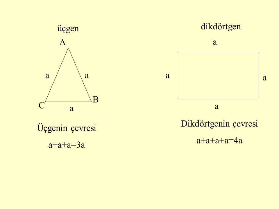 üçgen dikdörtgen B A C aa a a a a a Üçgenin çevresi a+a+a=3a Dikdörtgenin çevresi a+a+a+a=4a