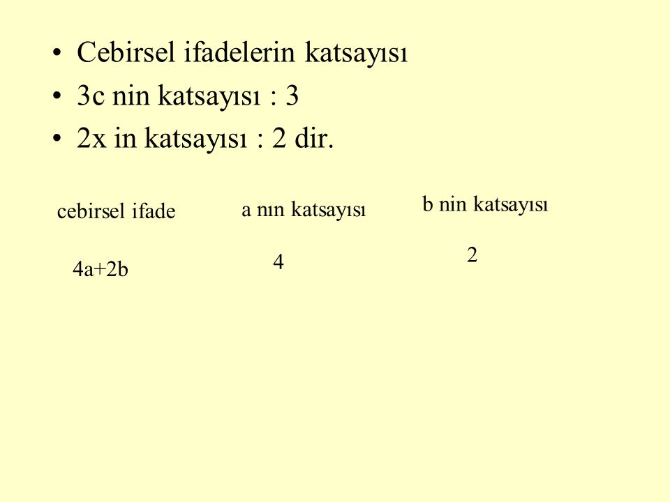 Cebirsel ifadelerin katsayısı 3c nin katsayısı : 3 2x in katsayısı : 2 dir. b nin katsayısı cebirsel ifade 4a+2b a nın katsayısı 4 2