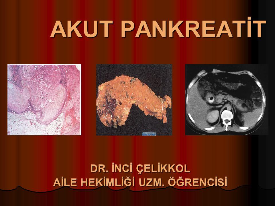 Lokal Komplikasyonlar Pankreatik Abse Pankreatik Abse İnfekte pseudokist / infekte nekroz İnfekte pseudokist / infekte nekroz Ateş, ağrı, kitle, lökositozun Ateş, ağrı, kitle, lökositozun Radyolojide Radyolojide kist içi debrisler kist içi debrisler aspirasyon materyalinde kültür aspirasyon materyalinde kültür Antibiyoterapi, cerrahi debridman, drenajdır.