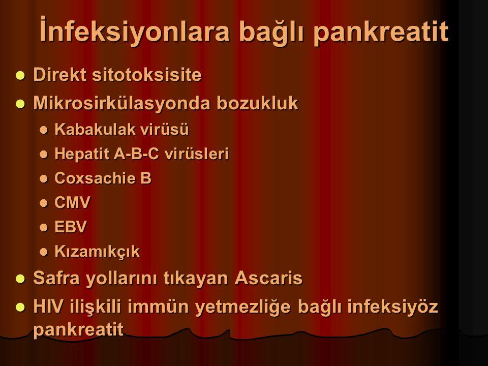 İnfeksiyonlara bağlı pankreatit Direkt sitotoksisite Direkt sitotoksisite Mikrosirkülasyonda bozukluk Mikrosirkülasyonda bozukluk Kabakulak virüsü Kabakulak virüsü Hepatit A-B-C virüsleri Hepatit A-B-C virüsleri Coxsachie B Coxsachie B CMV CMV EBV EBV Kızamıkçık Kızamıkçık Safra yollarını tıkayan Ascaris Safra yollarını tıkayan Ascaris HIV ilişkili immün yetmezliğe bağlı infeksiyöz pankreatit HIV ilişkili immün yetmezliğe bağlı infeksiyöz pankreatit