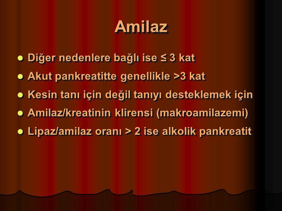 AmilazAmilaz Diğer nedenlere bağlı ise ≤ 3 kat Diğer nedenlere bağlı ise ≤ 3 kat Akut pankreatitte genellikle >3 kat Akut pankreatitte genellikle >3 kat Kesin tanı için değil tanıyı desteklemek için Kesin tanı için değil tanıyı desteklemek için Amilaz/kreatinin klirensi (makroamilazemi) Amilaz/kreatinin klirensi (makroamilazemi) Lipaz/amilaz oranı > 2 ise alkolik pankreatit Lipaz/amilaz oranı > 2 ise alkolik pankreatit Diğer nedenlere bağlı ise ≤ 3 kat Diğer nedenlere bağlı ise ≤ 3 kat Akut pankreatitte genellikle >3 kat Akut pankreatitte genellikle >3 kat Kesin tanı için değil tanıyı desteklemek için Kesin tanı için değil tanıyı desteklemek için Amilaz/kreatinin klirensi (makroamilazemi) Amilaz/kreatinin klirensi (makroamilazemi) Lipaz/amilaz oranı > 2 ise alkolik pankreatit Lipaz/amilaz oranı > 2 ise alkolik pankreatit