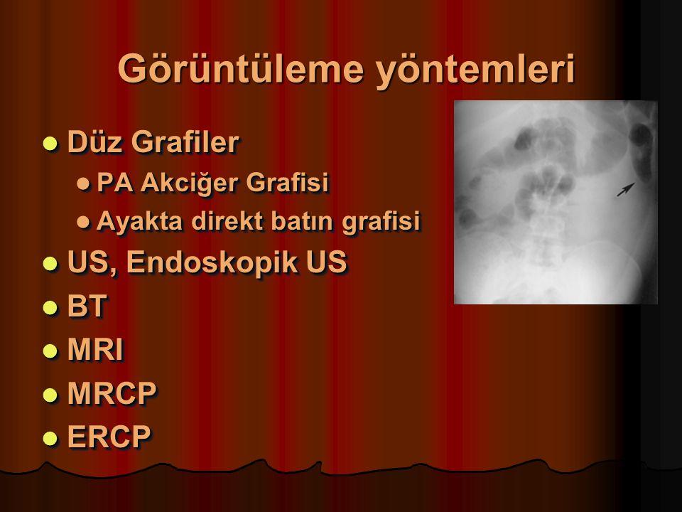 Görüntüleme yöntemleri Düz Grafiler Düz Grafiler PA Akciğer Grafisi PA Akciğer Grafisi Ayakta direkt batın grafisi Ayakta direkt batın grafisi US, Endoskopik US US, Endoskopik US BT BT MRI MRI MRCP MRCP ERCP ERCP Düz Grafiler Düz Grafiler PA Akciğer Grafisi PA Akciğer Grafisi Ayakta direkt batın grafisi Ayakta direkt batın grafisi US, Endoskopik US US, Endoskopik US BT BT MRI MRI MRCP MRCP ERCP ERCP