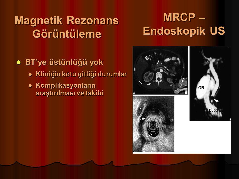 Magnetik Rezonans Görüntüleme BT'ye üstünlüğü yok BT'ye üstünlüğü yok Kliniğin kötü gittiği durumlar Kliniğin kötü gittiği durumlar Komplikasyonların araştırılması ve takibi Komplikasyonların araştırılması ve takibi MRCP – Endoskopik US