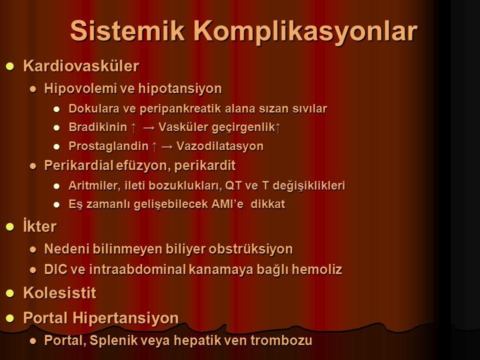 Sistemik Komplikasyonlar Kardiovasküler Kardiovasküler Hipovolemi ve hipotansiyon Hipovolemi ve hipotansiyon Dokulara ve peripankreatik alana sızan sıvılar Dokulara ve peripankreatik alana sızan sıvılar Bradikinin ↑ → Vasküler geçirgenlik↑ Bradikinin ↑ → Vasküler geçirgenlik↑ Prostaglandin ↑ → Vazodilatasyon Prostaglandin ↑ → Vazodilatasyon Perikardial efüzyon, perikardit Perikardial efüzyon, perikardit Aritmiler, ileti bozuklukları, QT ve T değişiklikleri Aritmiler, ileti bozuklukları, QT ve T değişiklikleri Eş zamanlı gelişebilecek AMI'e dikkat Eş zamanlı gelişebilecek AMI'e dikkat İkter İkter Nedeni bilinmeyen biliyer obstrüksiyon Nedeni bilinmeyen biliyer obstrüksiyon DIC ve intraabdominal kanamaya bağlı hemoliz DIC ve intraabdominal kanamaya bağlı hemoliz Kolesistit Kolesistit Portal Hipertansiyon Portal Hipertansiyon Portal, Splenik veya hepatik ven trombozu Portal, Splenik veya hepatik ven trombozu