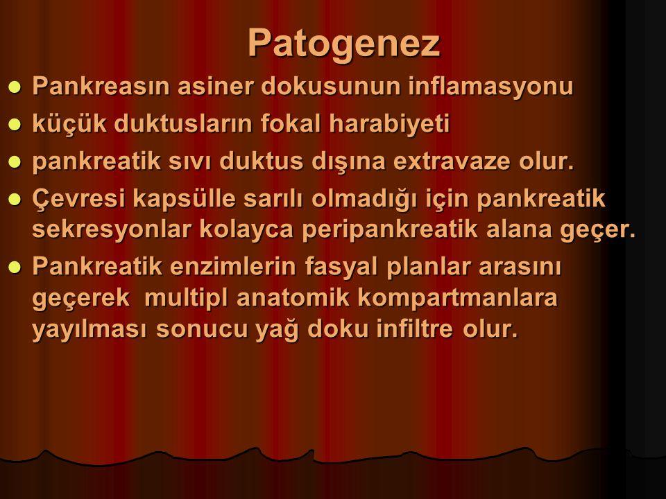 Patogenez Asiner hücre içinde tripsinin aktiflenmesi Asiner hücre içinde tripsinin aktiflenmesi Pankreatik proteaz ve fosfolipaz A2'nin aktiflenmesi Pankreatik proteaz ve fosfolipaz A2'nin aktiflenmesi Lipaz ve kolipaz ile yağ nekrozu Lipaz ve kolipaz ile yağ nekrozu Serbest oksijen radikalleri ve diğer lökosit kemoattraktanları Serbest oksijen radikalleri ve diğer lökosit kemoattraktanları Nötrofil, makrofaj, monosit, lenfosit infiltrasyonu Nötrofil, makrofaj, monosit, lenfosit infiltrasyonu Aşırı miktarlarda mediatör (elastaz, fosfolipaz A2, PAF, reakif oksijen radikalleri, sitokinler) salınımı Aşırı miktarlarda mediatör (elastaz, fosfolipaz A2, PAF, reakif oksijen radikalleri, sitokinler) salınımı Prostaglandin, lökotrien sentezi Prostaglandin, lökotrien sentezi Asiner hücrelerin otodigesyonu Asiner hücrelerin otodigesyonu