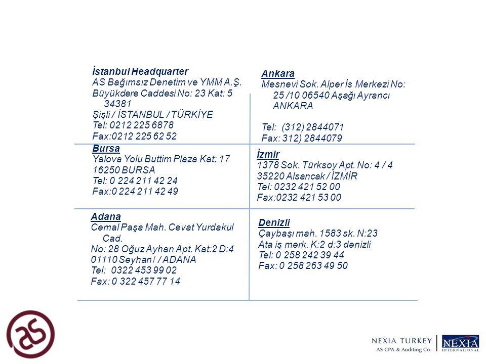 9 Bursa Yalova Yolu Buttim Plaza Kat: 17 16250 BURSA Tel: 0 224 211 42 24 Fax:0 224 211 42 49 İstanbul Headquarter AS Bağımsız Denetim ve YMM A.Ş. Büy