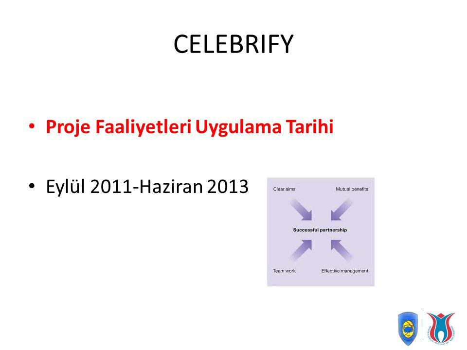 CELEBRIFY Proje Faaliyetleri Uygulama Tarihi Eylül 2011-Haziran 2013