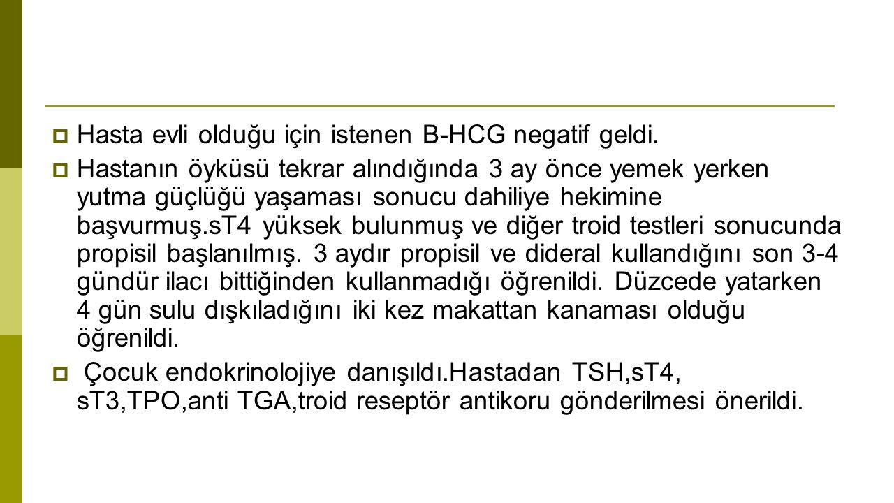  Hasta evli olduğu için istenen B-HCG negatif geldi.
