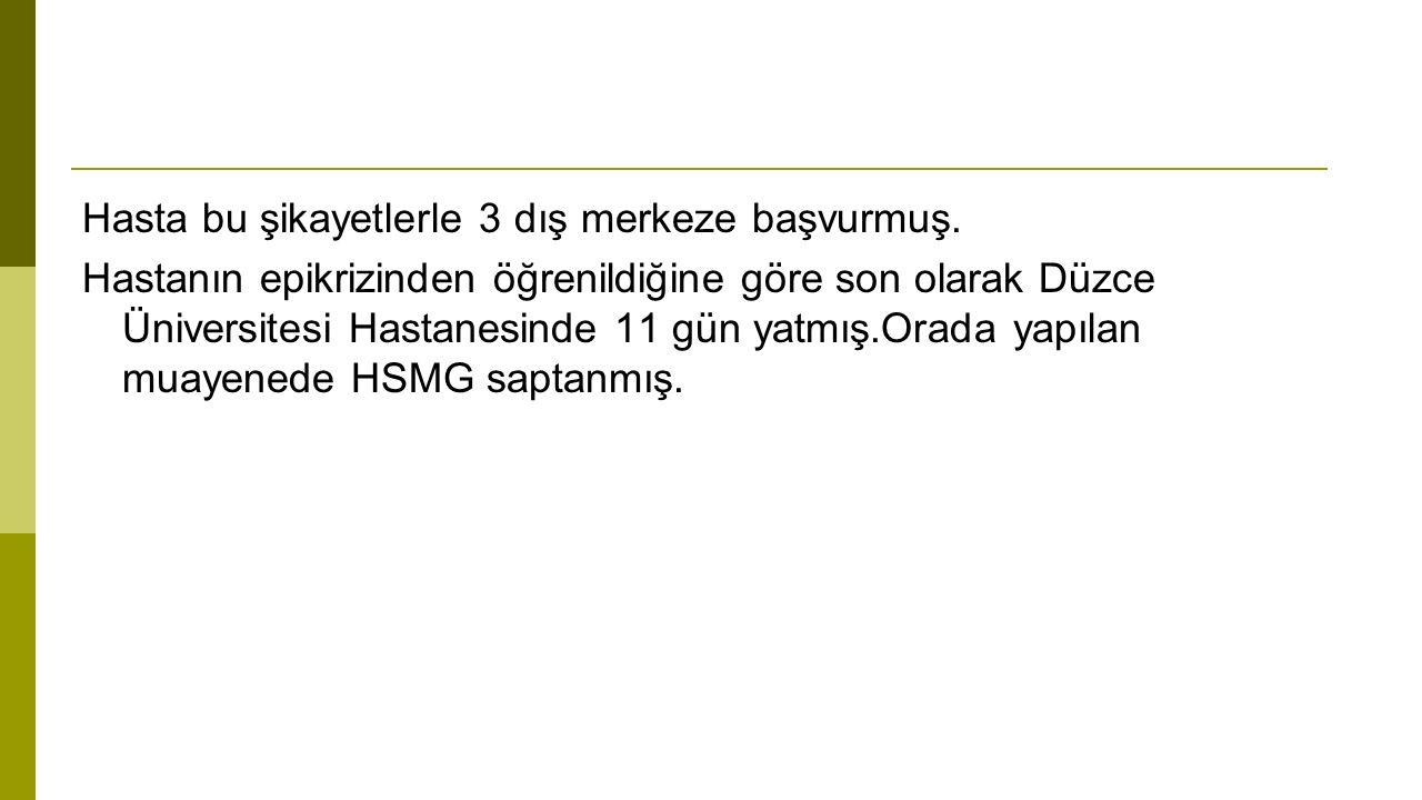 WBC:2400ul(4.16-10.2) Neutrofil: 4000ul(2.0-6.9) hgb:9.1 mg/dl (12.2-18.1) PLT:267000ul(142-424) CRP:19 mg/dl Sedim :49 mm/h(<20) ASO:20 IU/ml RF:6 IU/ml Brusella ve Grubel-Widal testleri negatif.