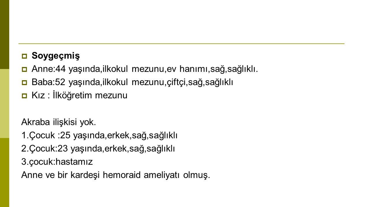 Fizik muayene:  Ateş:37.4C  Nabız:85/dk  TA:100/60  SS:24/dk  Boy:160 cm (50.