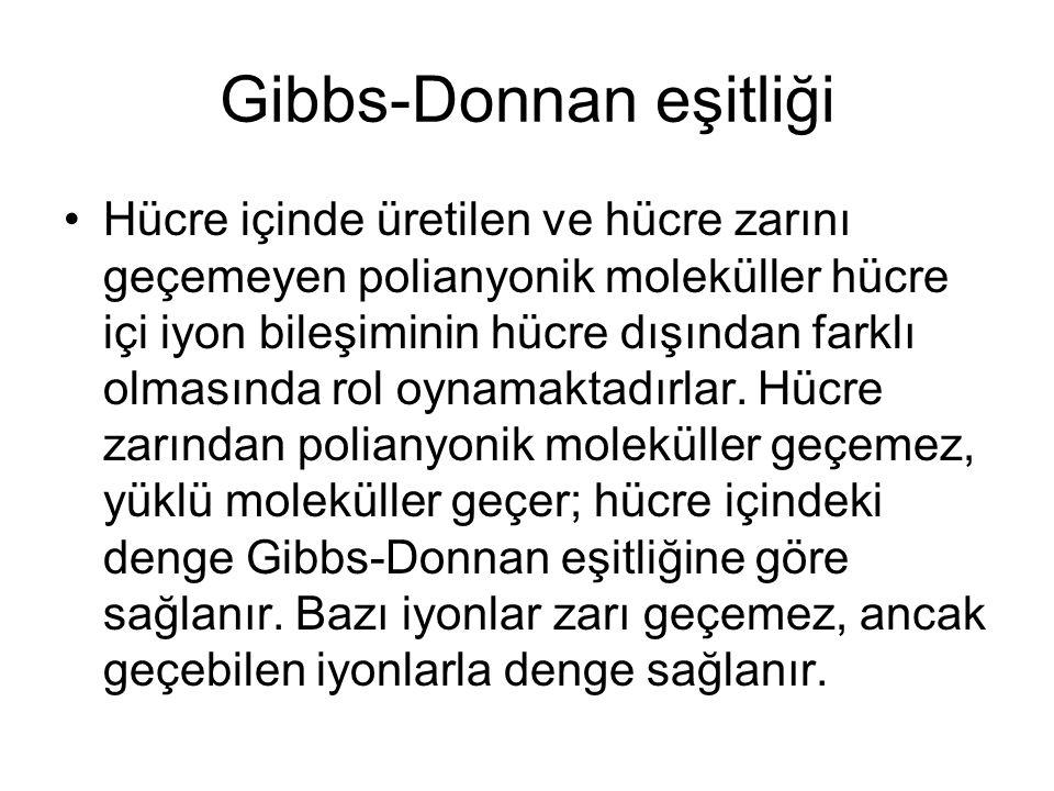 Gibbs-Donnan eşitliği Hücre içinde üretilen ve hücre zarını geçemeyen polianyonik moleküller hücre içi iyon bileşiminin hücre dışından farklı olmasınd