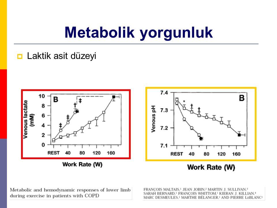 Metabolik yorgunluk  Laktik asit düzeyi