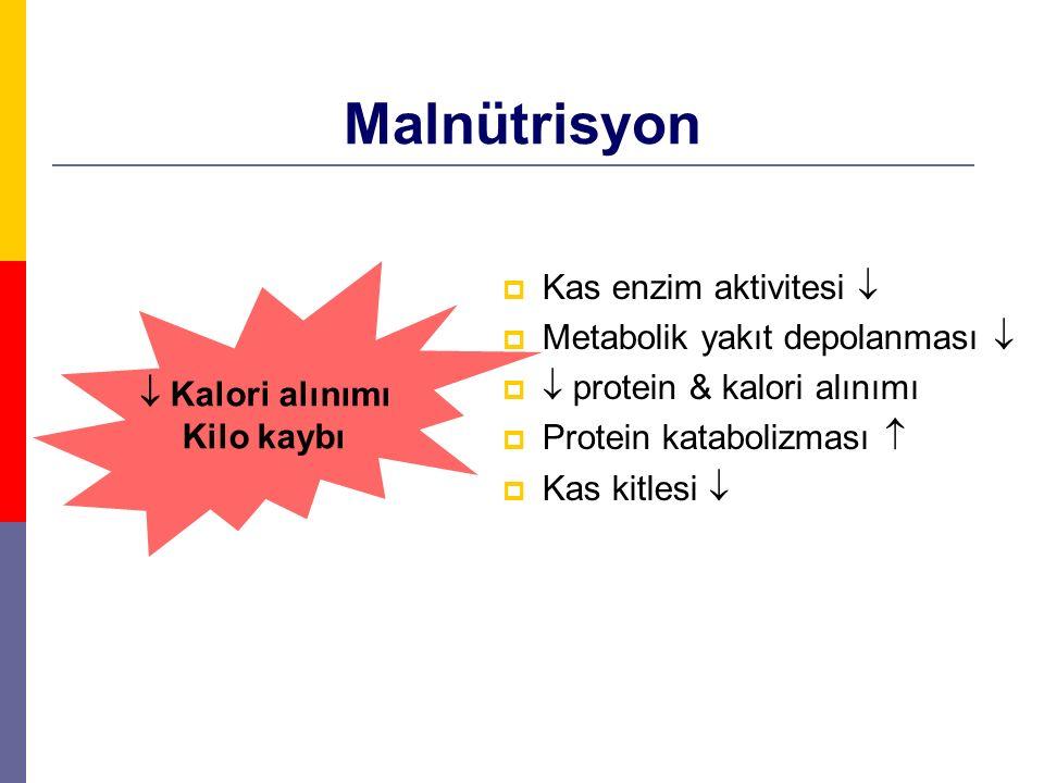 Malnütrisyon  Kas enzim aktivitesi   Metabolik yakıt depolanması    protein & kalori alınımı  Protein katabolizması   Kas kitlesi   Kalori