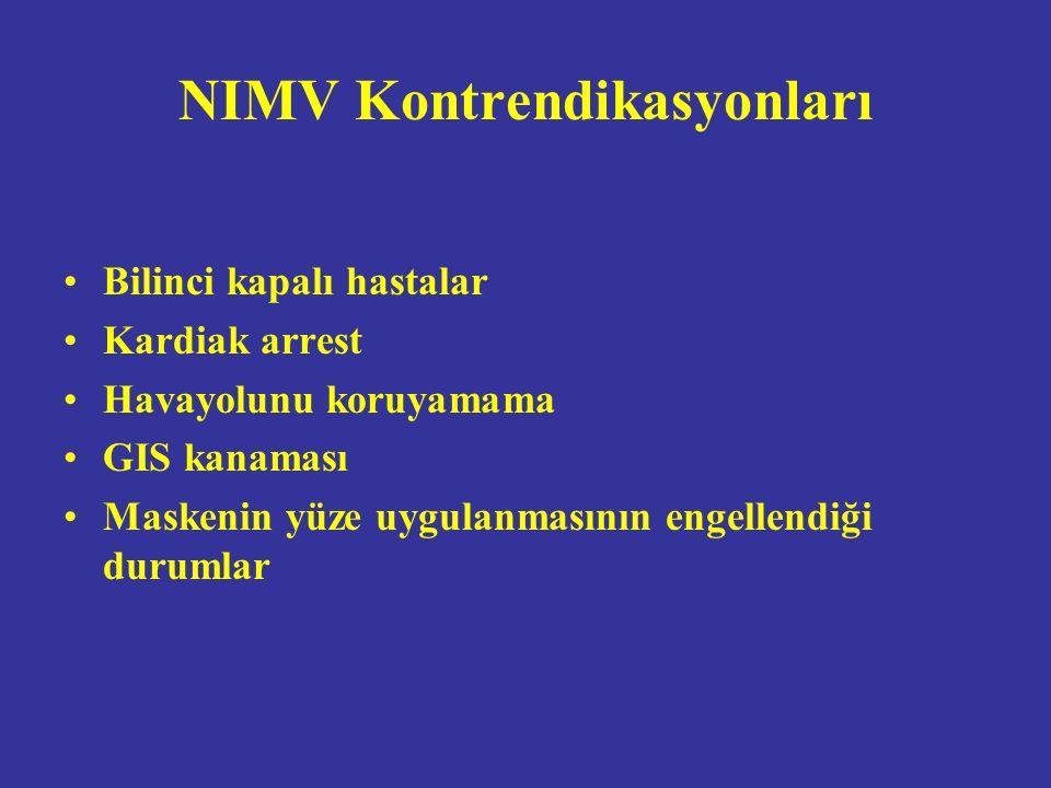 NIMV Kontrendikasyonları Bilinci kapalı hastalar Kardiak arrest Havayolunu koruyamama GIS kanaması Maskenin yüze uygulanmasının engellendiği durumlar
