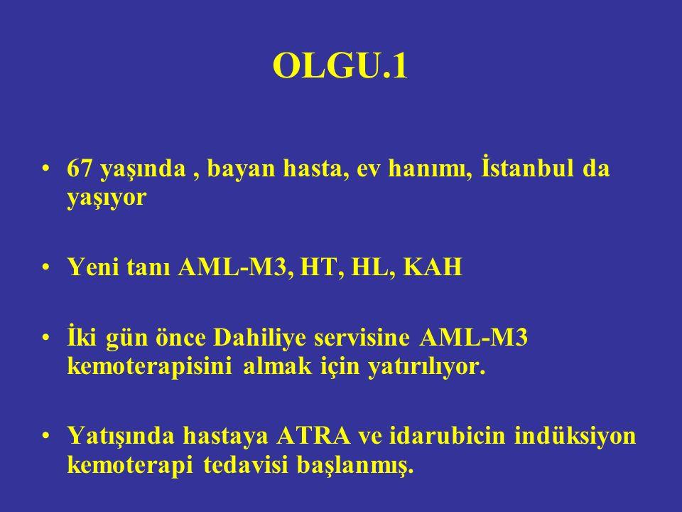 OLGU.1 67 yaşında, bayan hasta, ev hanımı, İstanbul da yaşıyor Yeni tanı AML-M3, HT, HL, KAH İki gün önce Dahiliye servisine AML-M3 kemoterapisini almak için yatırılıyor.
