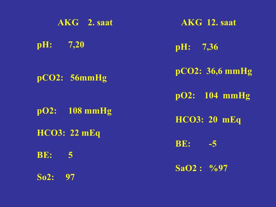 AKG 12. saat pH: 7,36 pCO2: 36,6 mmHg pO2: 104 mmHg HCO3: 20 mEq BE: -5 SaO2 : %97 AKG 2.