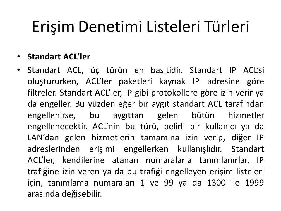 Erişim Denetimi Listeleri Türleri Standart ACL'ler Standart ACL, üç türün en basitidir. Standart IP ACL'si oluştururken, ACL'ler paketleri kaynak IP a
