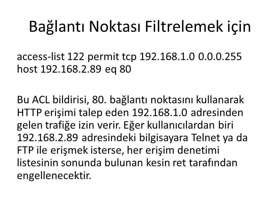 Bağlantı Noktası Filtrelemek için access-list 122 permit tcp 192.168.1.0 0.0.0.255 host 192.168.2.89 eq 80 Bu ACL bildirisi, 80. bağlantı noktasını ku