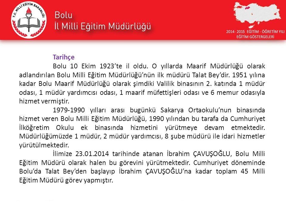 Tarihçe Bolu 10 Ekim 1923'te il oldu. O yıllarda Maarif Müdürlüğü olarak adlandırılan Bolu Milli Eğitim Müdürlüğü'nün ilk müdürü Talat Bey'dir. 1951 y