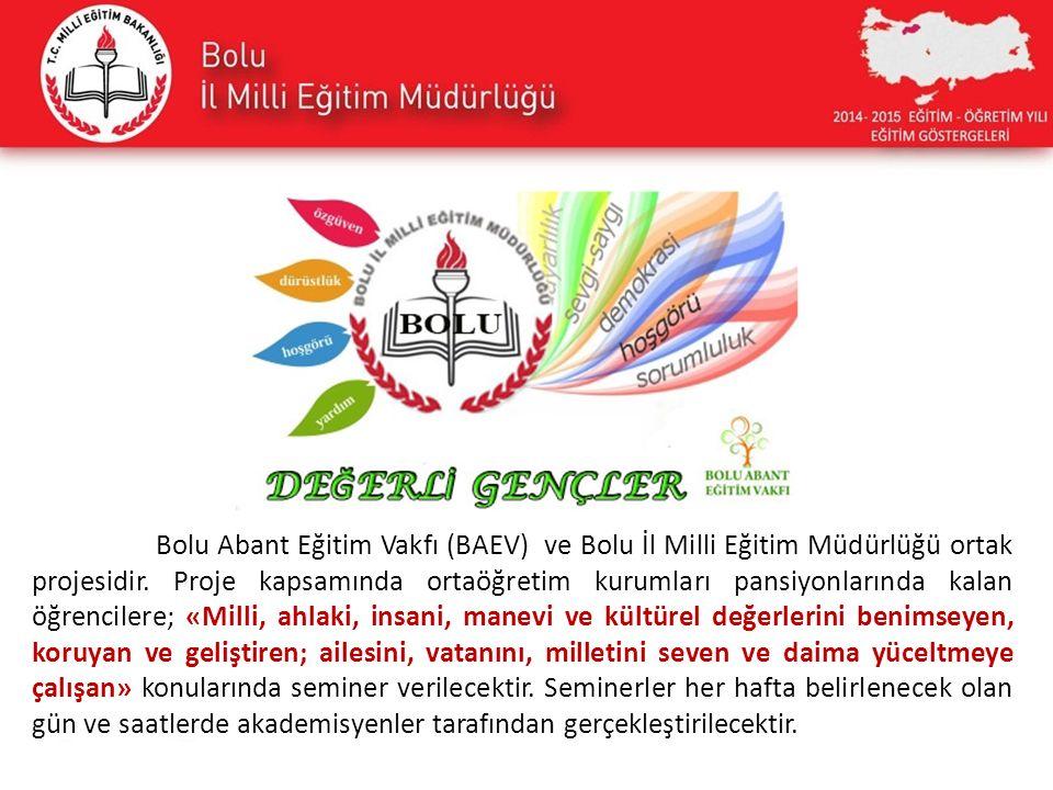 Bolu Abant Eğitim Vakfı (BAEV) ve Bolu İl Milli Eğitim Müdürlüğü ortak projesidir. Proje kapsamında ortaöğretim kurumları pansiyonlarında kalan öğrenc