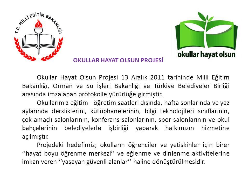 Okullar Hayat Olsun Projesi 13 Aralık 2011 tarihinde Milli Eğitim Bakanlığı, Orman ve Su İşleri Bakanlığı ve Türkiye Belediyeler Birliği arasında imzalanan protokolle yürürlüğe girmiştir.