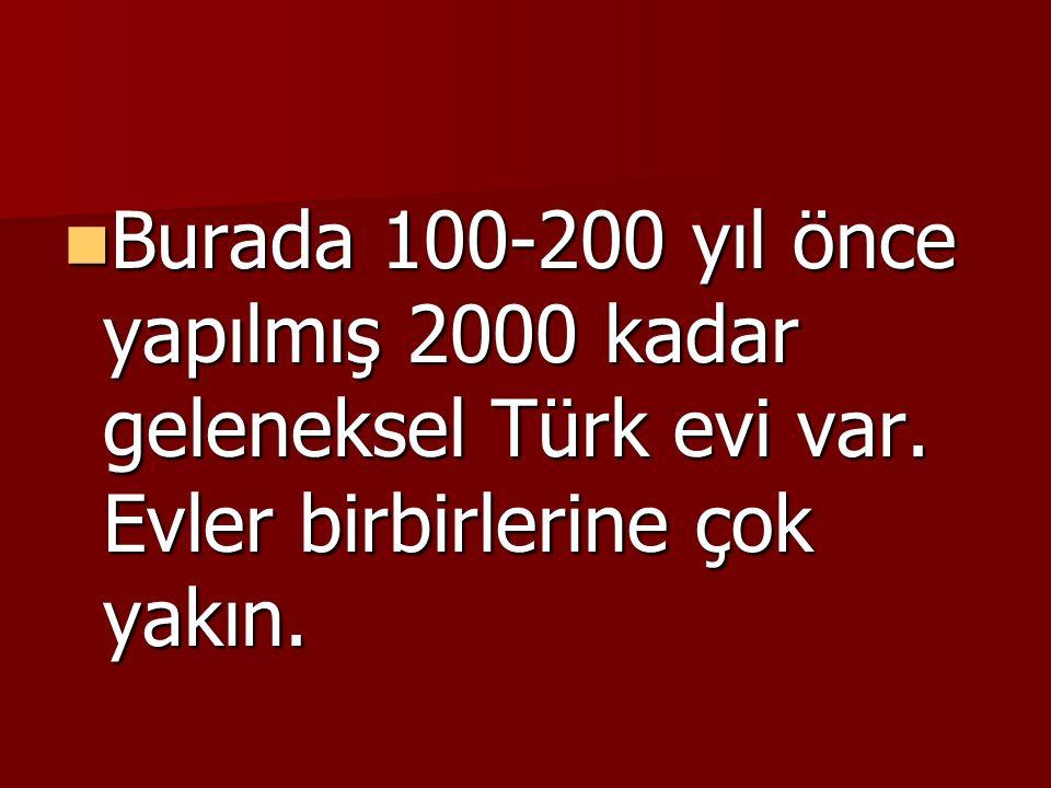 Burada 100-200 yıl önce yapılmış 2000 kadar geleneksel Türk evi var. Evler birbirlerine çok yakın.