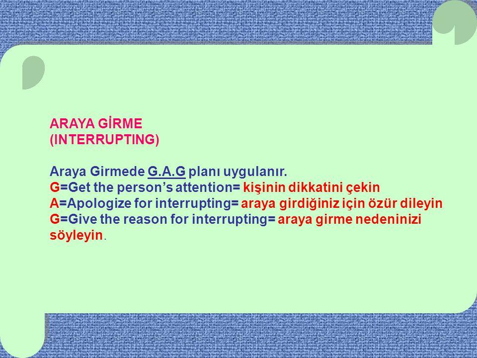 ARAYA GİRME (INTERRUPTING) Araya Girmede G.A.G planı uygulanır. G=Get the person's attention= kişinin dikkatini çekin A=Apologize for interrupting= ar