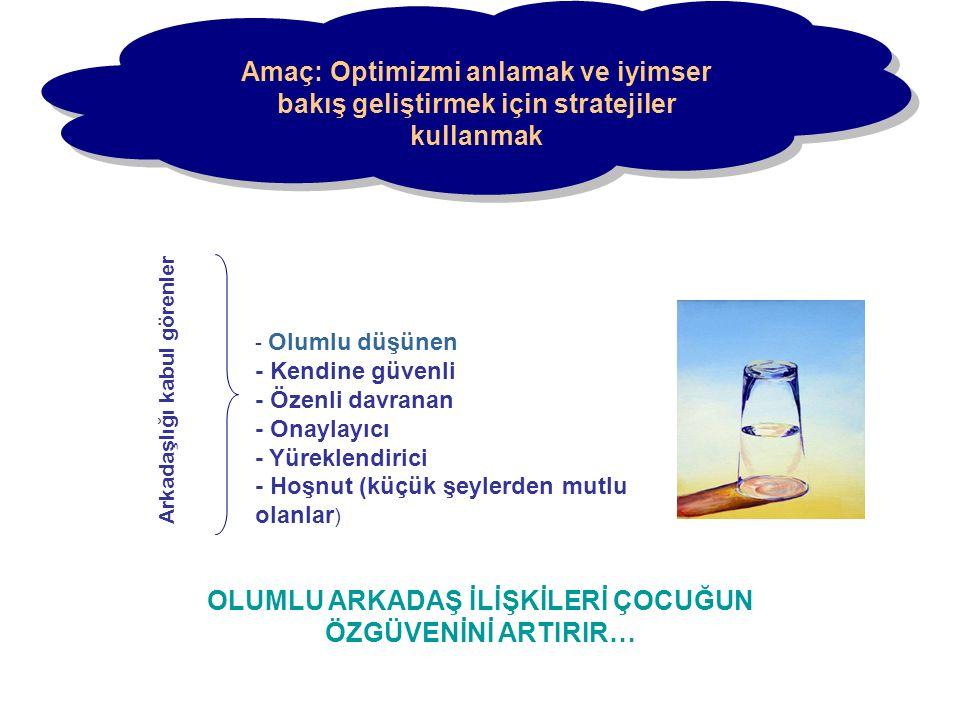 Amaç: Optimizmi anlamak ve iyimser bakış geliştirmek için stratejiler kullanmak - Olumlu düşünen - Kendine güvenli - Özenli davranan - Onaylayıcı - Yü