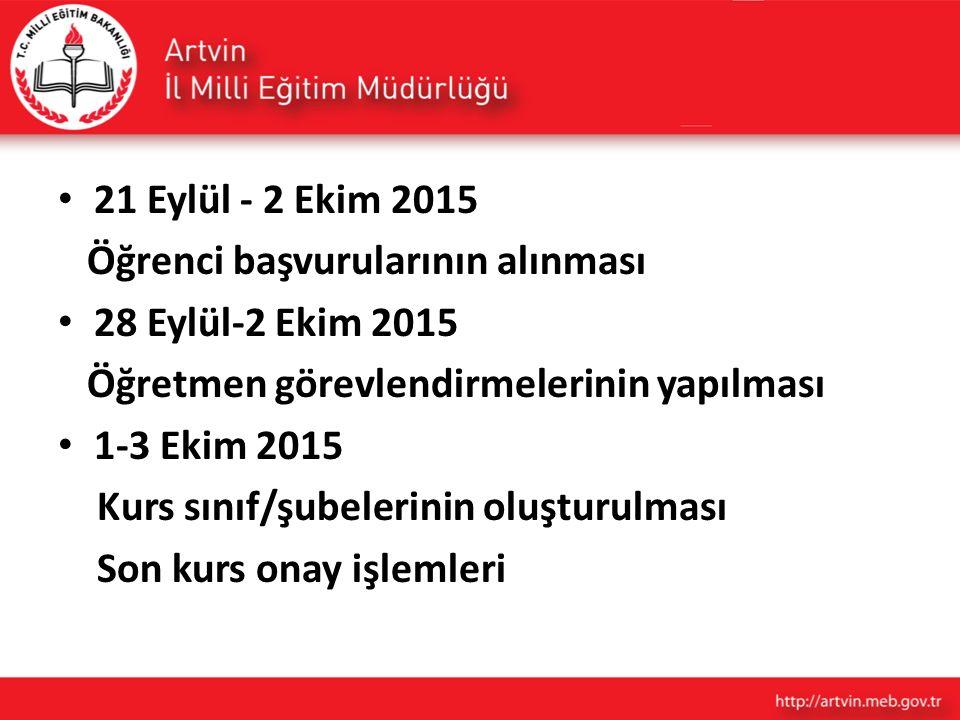 3 Ekim 2015 I.Dönem Kurslarının başlaması 24 Ocak 2016 I.