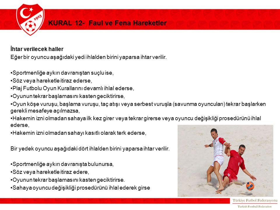 KURAL 12- Faul ve Fena Hareketler İhtar verilecek haller Eğer bir oyuncu aşağıdaki yedi ihlalden birini yaparsa ihtar verilir. Sportmenliğe aykırı dav