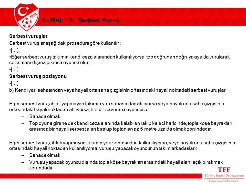 KURAL 13- Serbest Vuruş Serbest vuruşlar Serbest vuruşlar aşağıdaki prosedüre göre kullanılır : […]. Eğer serbest vuruş takımın kendi ceza alanından k