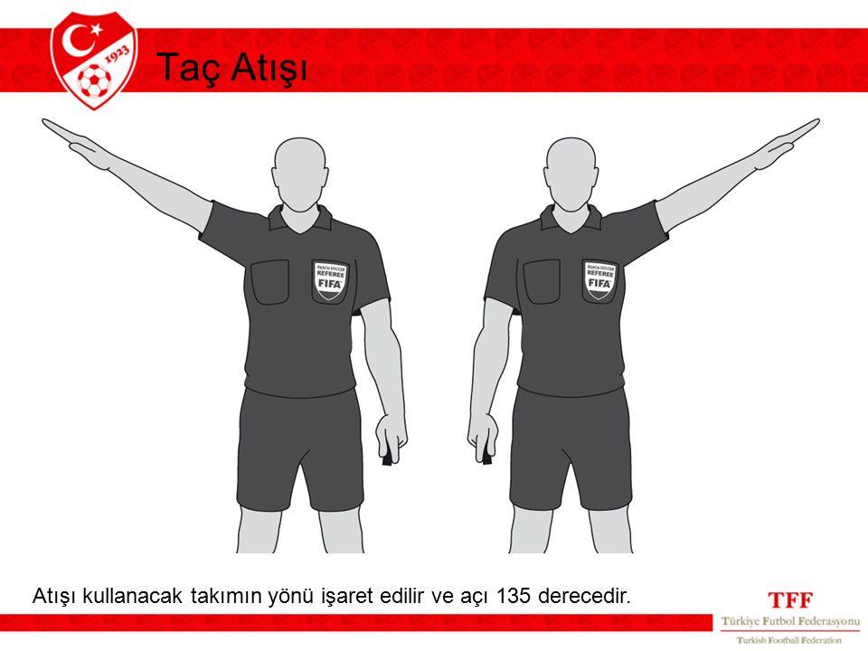 Taç Atışı Atışı kullanacak takımın yönü işaret edilir ve açı 135 derecedir.