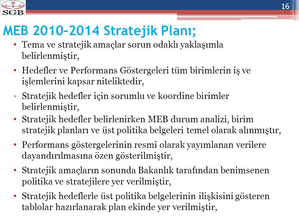 MEB 2010-2014 Stratejik Planı; Tema ve stratejik amaçlar sorun odaklı yaklaşımla belirlenmiştir, Hedefler ve Performans Göstergeleri tüm birimlerin iş