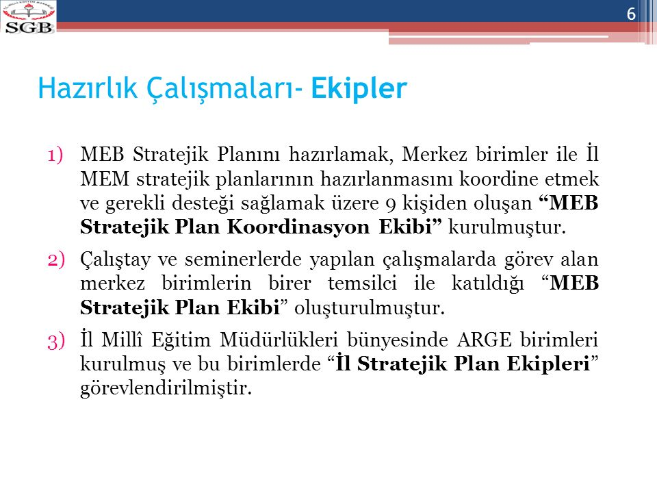 Plan Aşamaları 1.Merkez ve İl MEM düzeyindeki birimlerin ön taslak planlarının hazırlanması, 2.Koordinasyon ekibince Bakanlık taslak planının hazırlanması ve taslak planın birimlerin görüşüne sunulması, 3.Standart sağlanması için şekil ve içerik açısından Koordinasyon ekibince birim taslak stratejik planlarının ön incelemesinin yapılması, 4.Merkez birimlerin görüşleri doğrultusunda plan taslağında düzenlemeler yapılması, 5.Planın değerlendirilmek üzere Devlet Planlama Teşkilatı Müsteşarlığına gönderilmesi, 6.Planın son kez tüm birimlerin görüşüne sunulması, 7.Stratejik planın üst yönetimce onaylanması, 8.Merkez ve İl MEM düzeyindeki birimlerin stratejik planlarının MEB Stratejik Planı ile uyumu konusunda son kontrollerinin yapılması, 9.MEB Stratejik planının onaylanması.