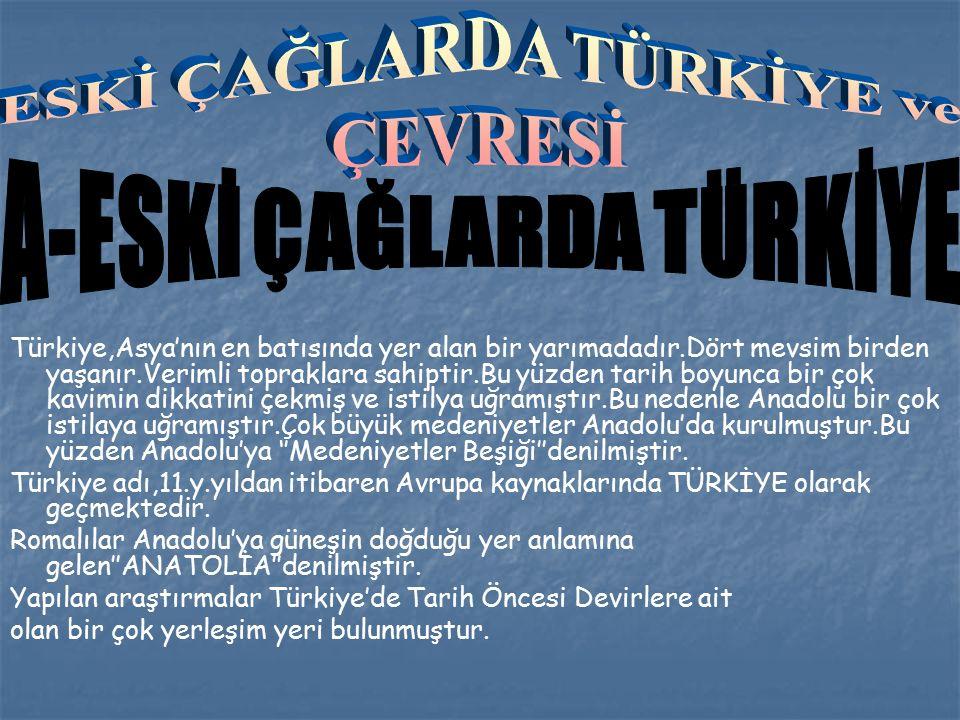 Türkiye,Asya'nın en batısında yer alan bir yarımadadır.Dört mevsim birden yaşanır.Verimli topraklara sahiptir.Bu yüzden tarih boyunca bir çok kavimin