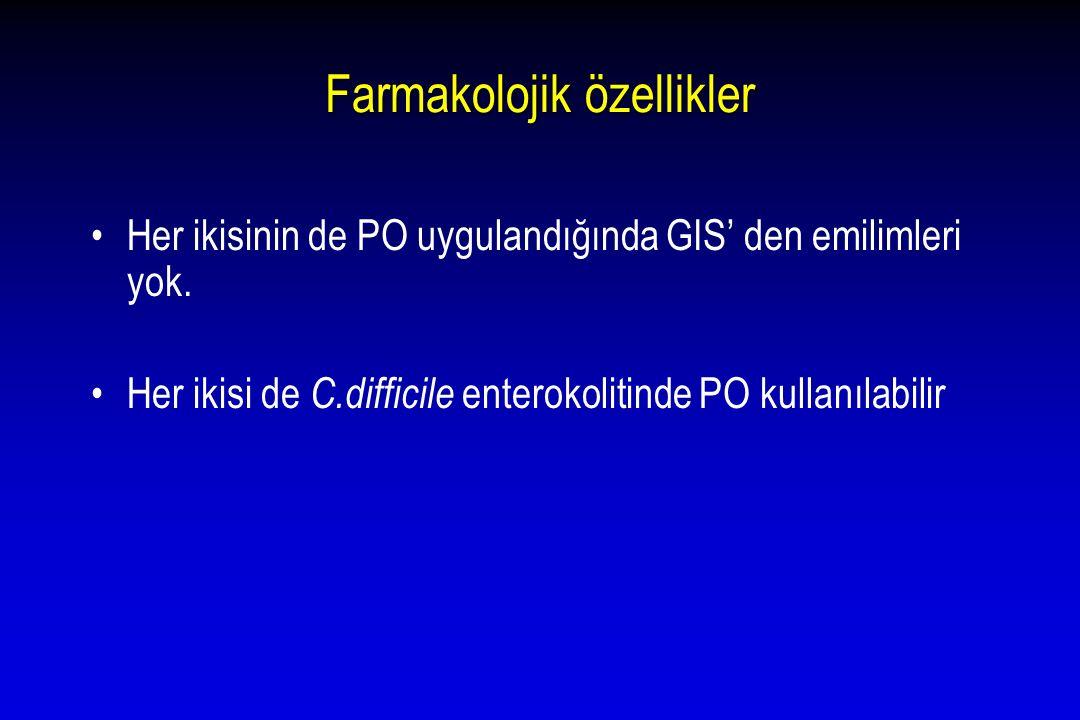 Farmakolojik özellikler Her ikisinin de PO uygulandığında GIS' den emilimleri yok. Her ikisi de C.difficile enterokolitinde PO kullanılabilir