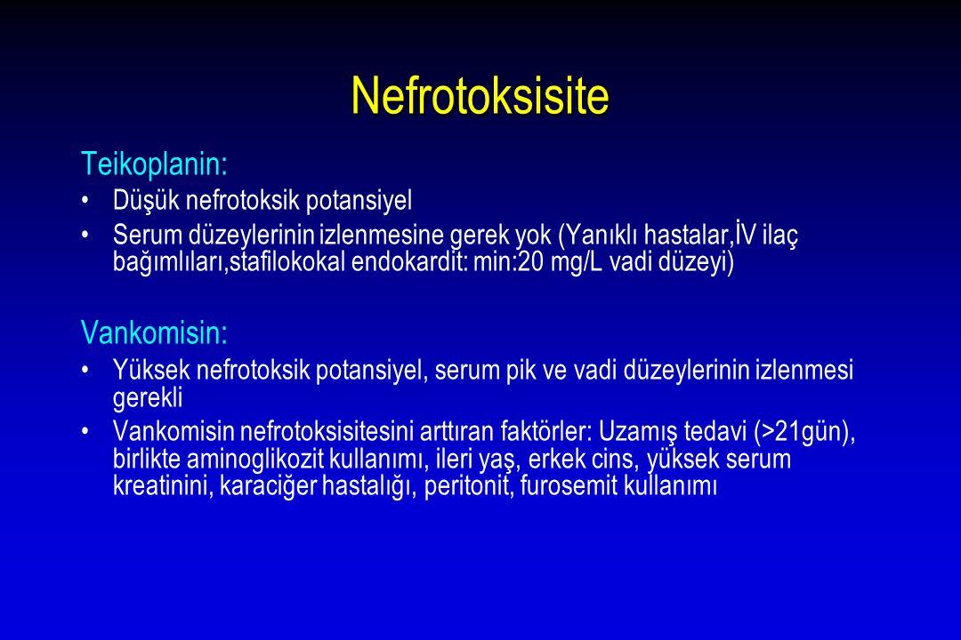 Nefrotoksisite Teikoplanin: Düşük nefrotoksik potansiyel Serum düzeylerinin izlenmesine gerek yok (Yanıklı hastalar,İV ilaç bağımlıları,stafilokokal e