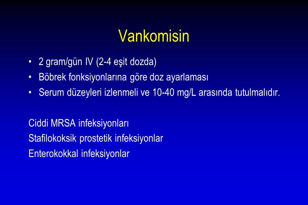Vankomisin 2 gram/gün IV (2-4 eşit dozda) Böbrek fonksiyonlarına göre doz ayarlaması Serum düzeyleri izlenmeli ve 10-40 mg/L arasında tutulmalıdır. Ci