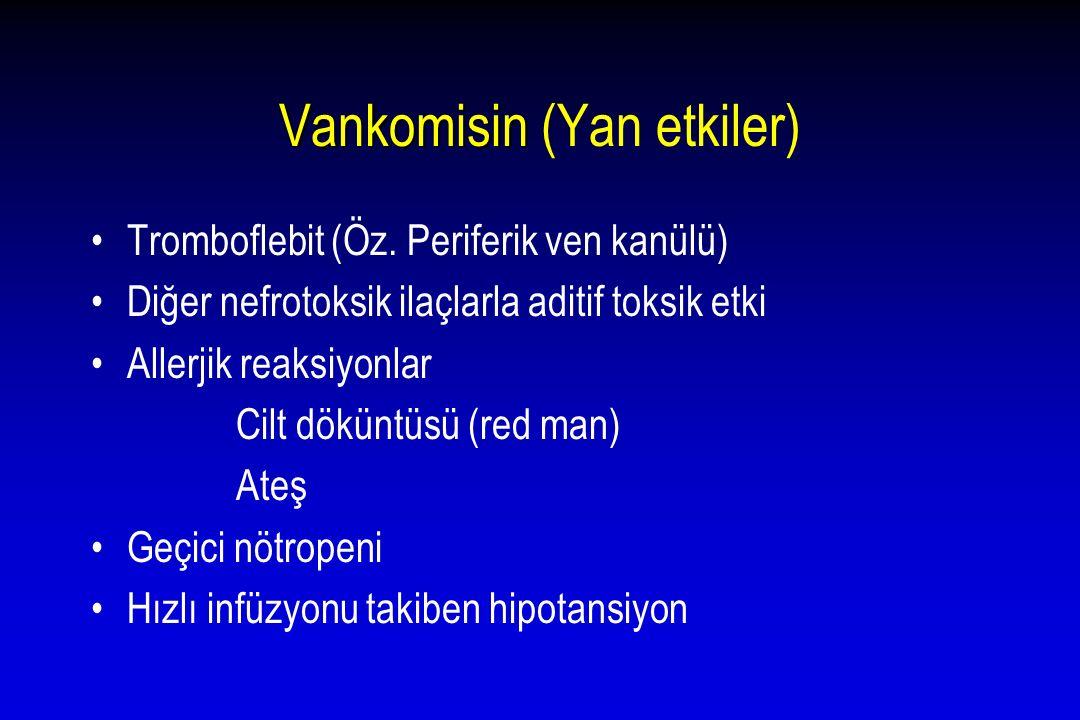 Vankomisin Vankomisin (Yan etkiler) Tromboflebit (Öz. Periferik ven kanülü) Diğer nefrotoksik ilaçlarla aditif toksik etki Allerjik reaksiyonlar Cilt