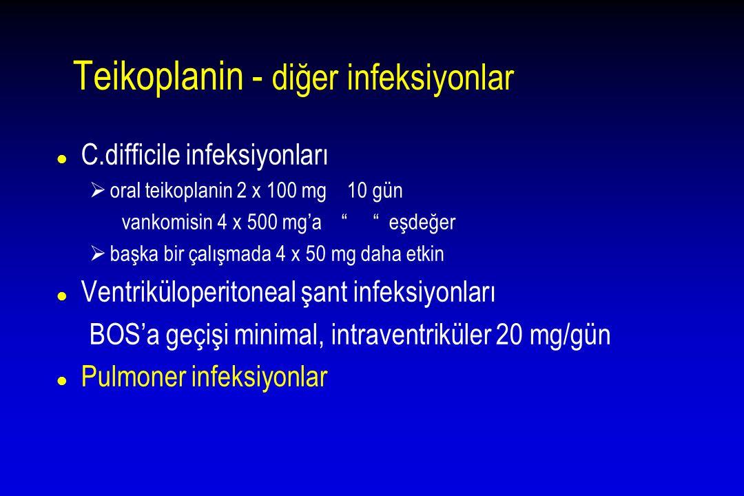 """Teikoplanin - diğer infeksiyonlar l C.difficile infeksiyonları  oral teikoplanin 2 x 100 mg 10 gün vankomisin 4 x 500 mg'a """" """" eşdeğer  başka bir ça"""