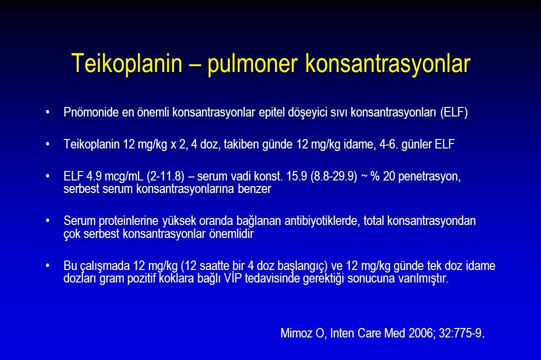 Teikoplanin – pulmoner konsantrasyonlar Pnömonide en önemli konsantrasyonlar epitel döşeyici sıvı konsantrasyonları (ELF) Teikoplanin 12 mg/kg x 2, 4