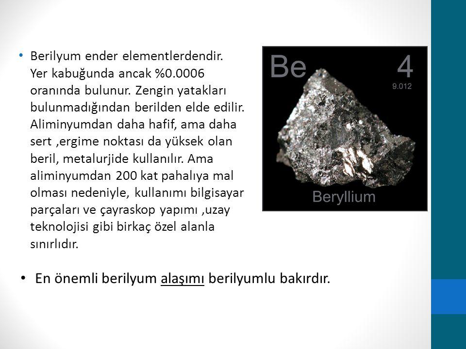 Berilyum ender elementlerdendir. Yer kabuğunda ancak %0.0006 oranında bulunur. Zengin yatakları bulunmadığından berilden elde edilir. Aliminyumdan dah