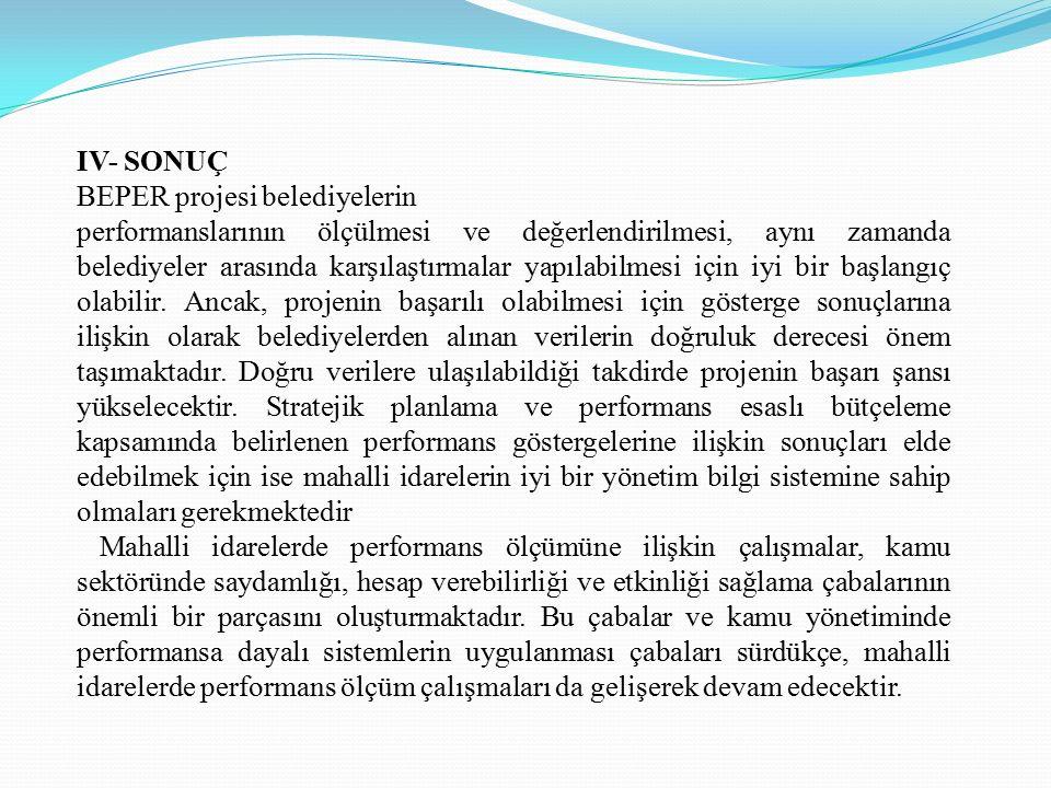 MAHALLİ İDARELERDE PERFORMANS ÖLÇÜMÜ (BEPER) PROJESİ 1.Türkiye'de Performans Ölçüm ve Denetiminin Yasal Dayanakları Türkiye'de performans ölçümü ve denetimi kavramı, kamu yönetiminde reform çalışmaları kapsamı içerisinde, performans kavramının ve performansın çeşitli unsurlarının yer almasıyla ele alınmaya başlanmıştır.