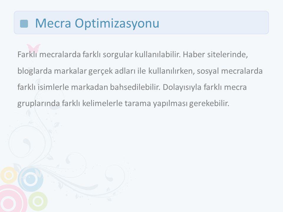 Mecra Optimizasyonu Farklı mecralarda farklı sorgular kullanılabilir.