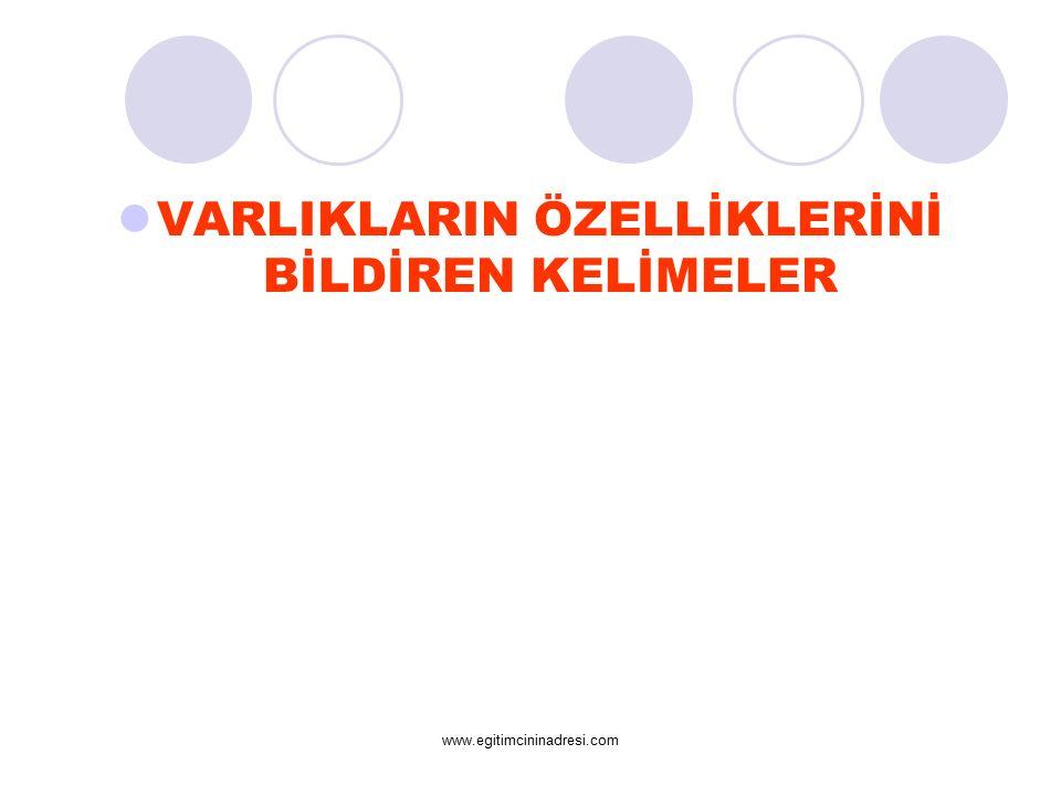 VARLIKLARIN ÖZELLİKLERİNİ BİLDİREN KELİMELER www.egitimcininadresi.com